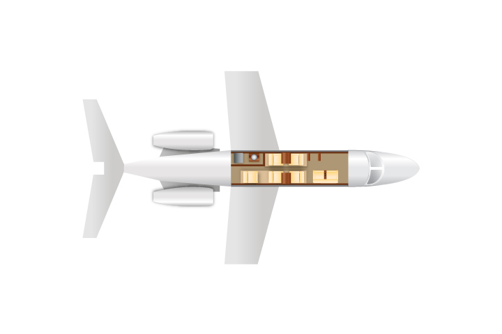 Private Mid Size Jet Lear 55 Floor Plan