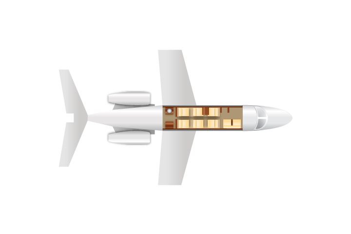 Private Light Jet Phenom 300 Floor Plan