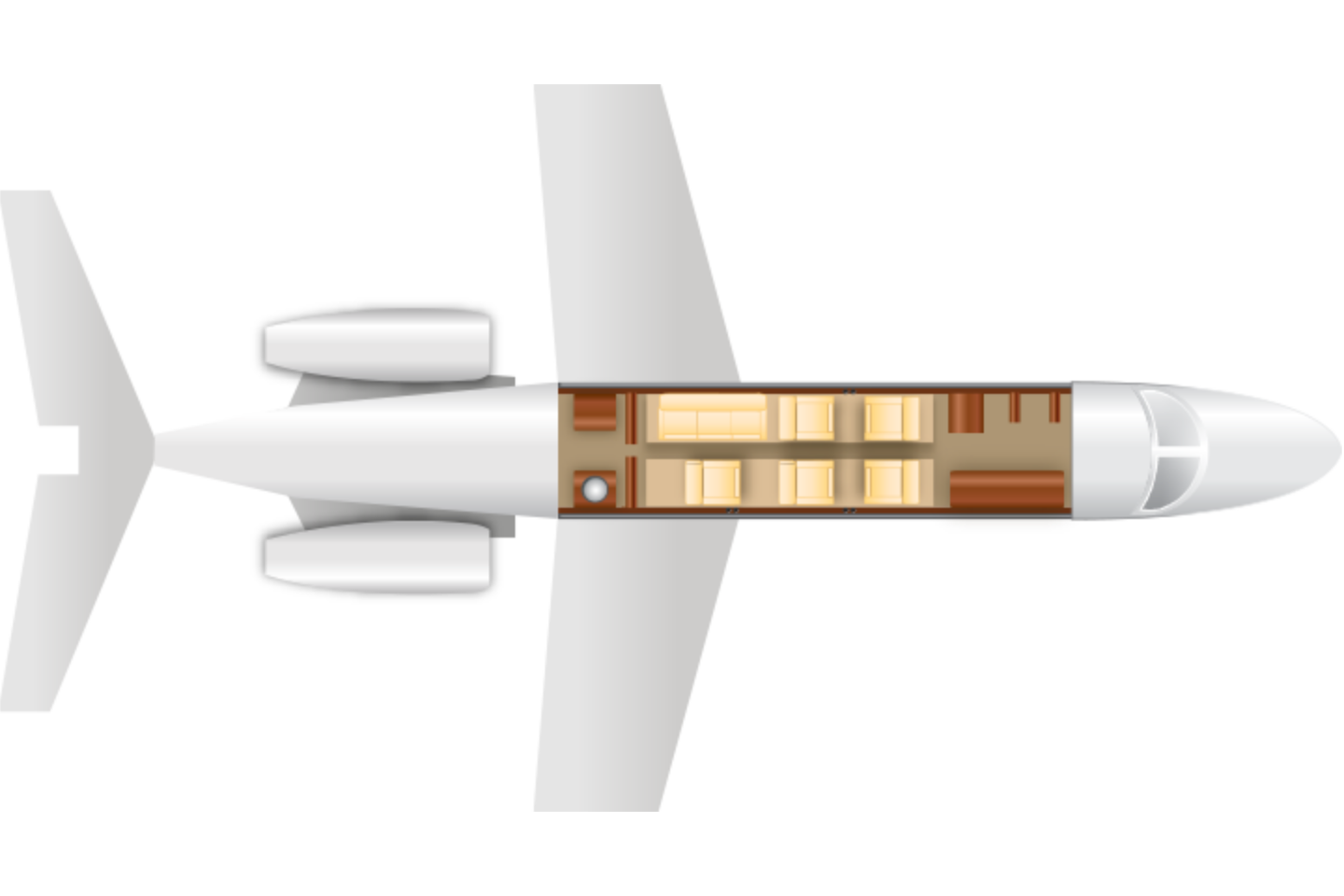 Private Mid Size Jet Hawker 850XP Floor Plan