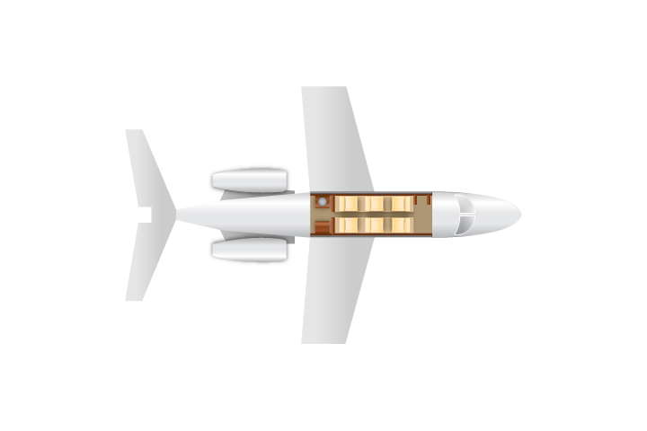 Private Light Jet Citation CJ2 Floor Plan