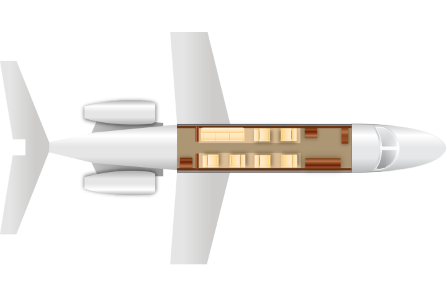 Private Super Mid Size Jet Challenger 300 Floor Plan