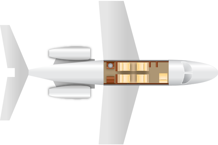Private Light Jet Citation M2 Floor Plan
