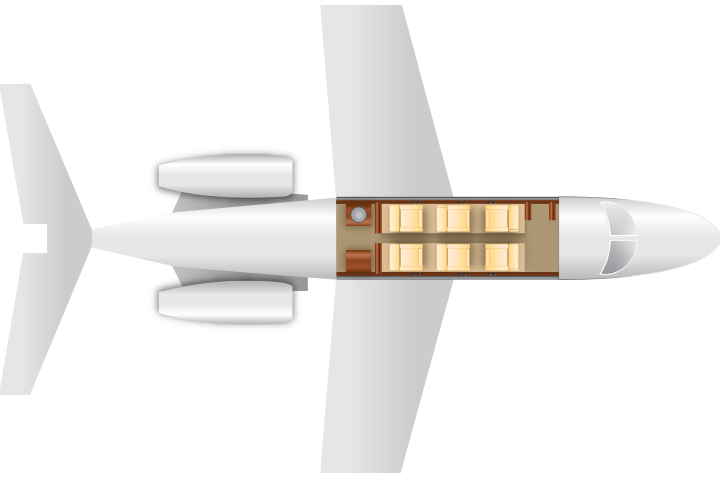 Private Light Jet Citation CJ3 Floor Plan