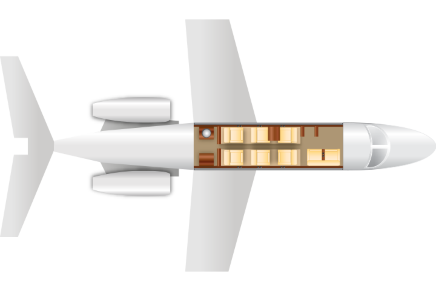 Private Mid Size Jet Citation Excel Floor Plan