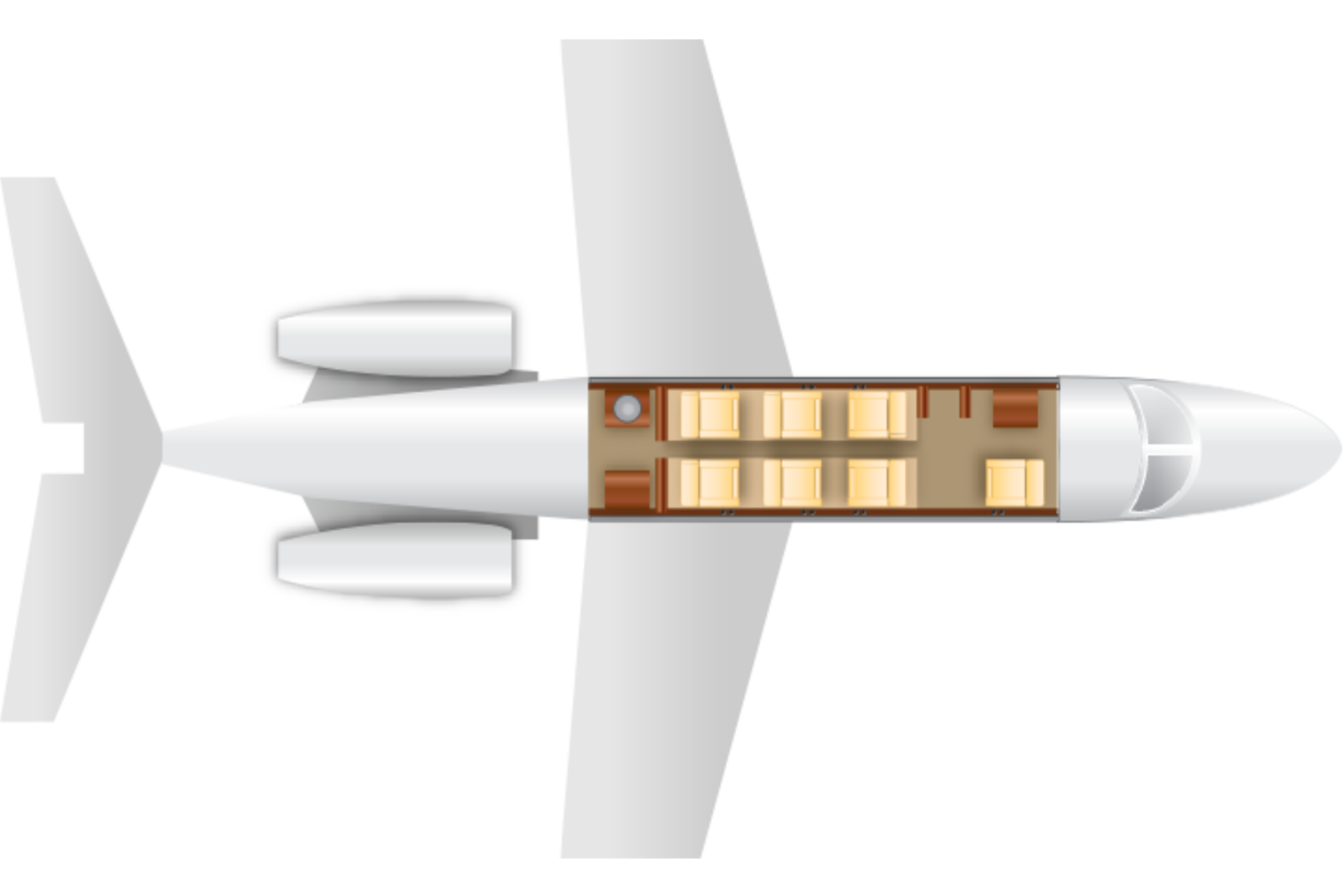 Private Heavy Jet Gulfstream II Floor Plan