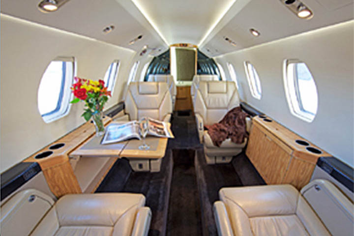 Private Mid Size Jet Citation VI Interior