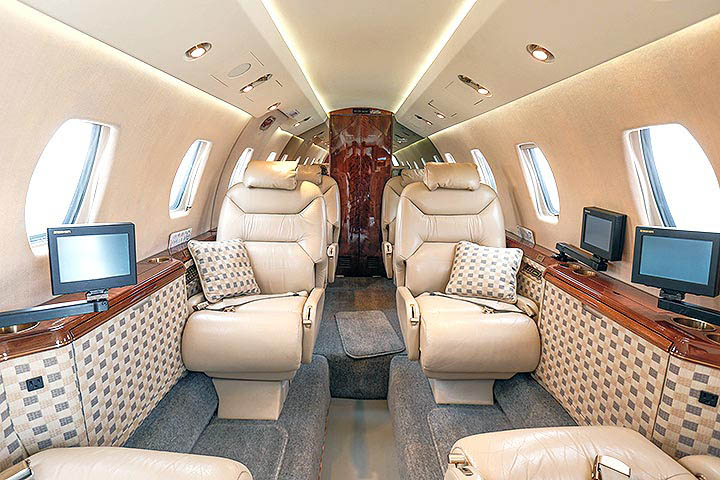 Private Mid Size Jet Citation VII Interior