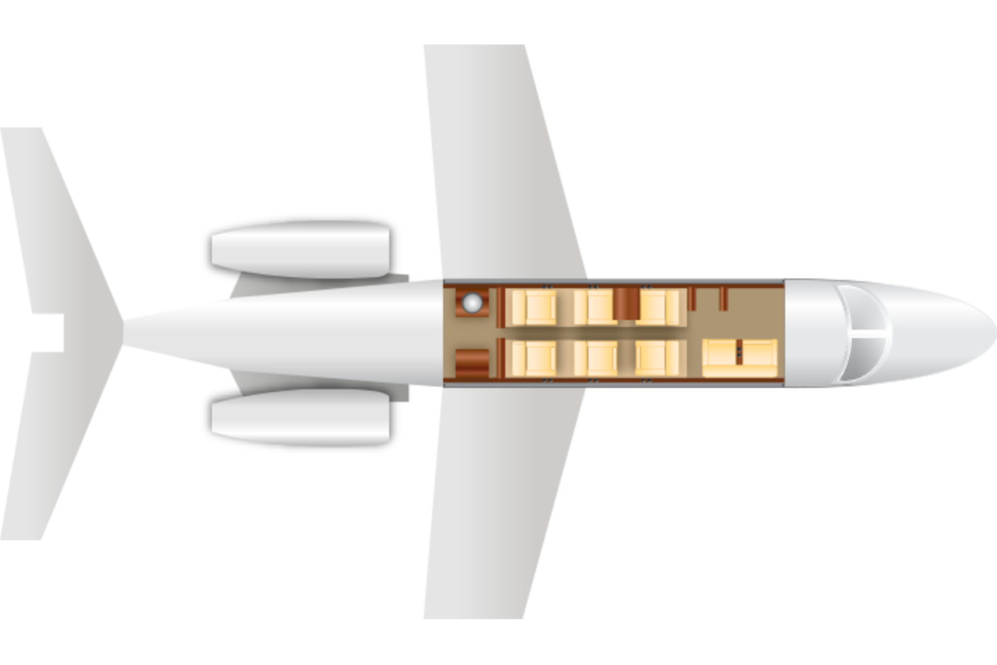 Private Mid Size Jet Citation XLS Floor Plan