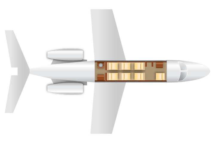 Private Light Jet Beechjet 400 Floor Plan