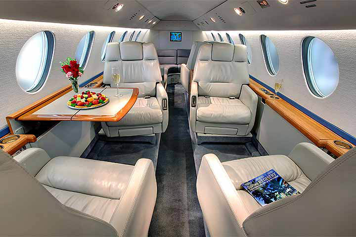 Private Super Mid Size Jet Falcon 50 Interior