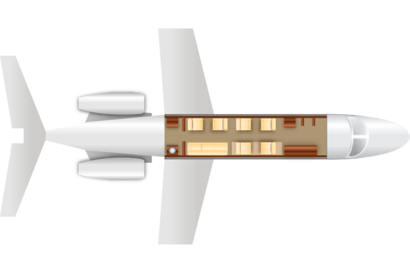 Private Super Mid Size Jet Falcon 50 Floor Plan