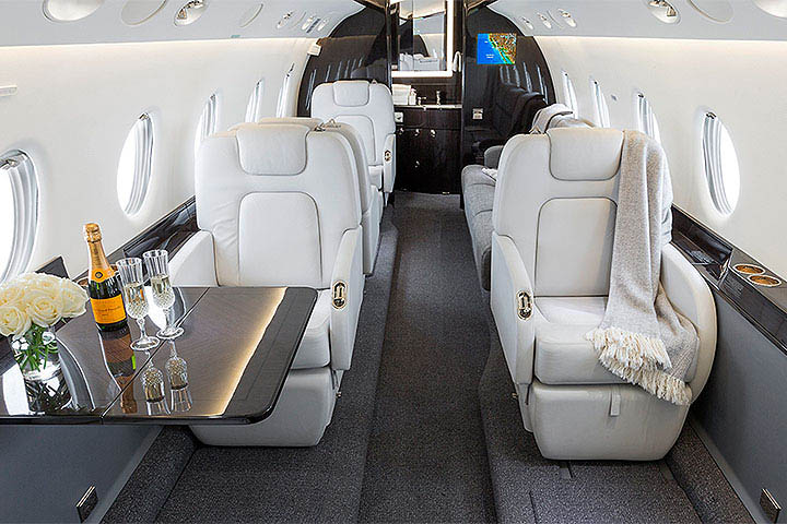 Private Super Mid Size Jet Gulfstream 200 Interior