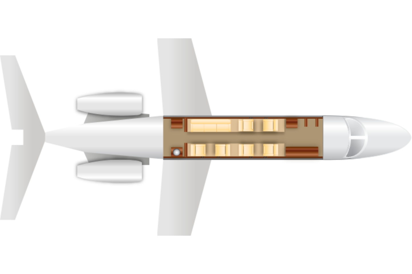 Private Super Mid Size Jet Gulfstream 200 Floor Plan