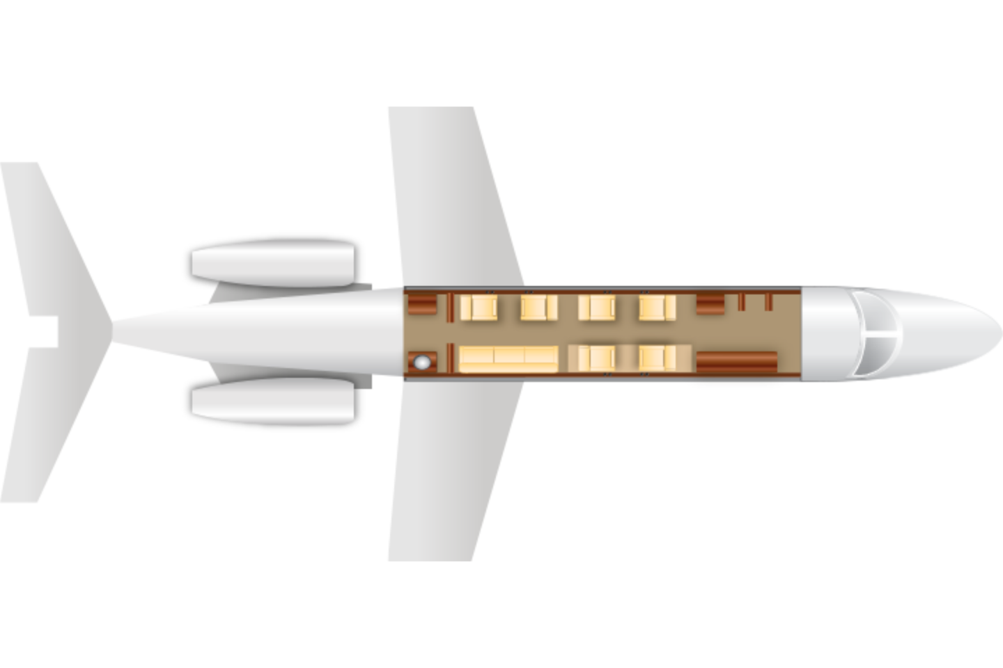 Private Super Mid Size Jet Hawker 4000 Floor Plan