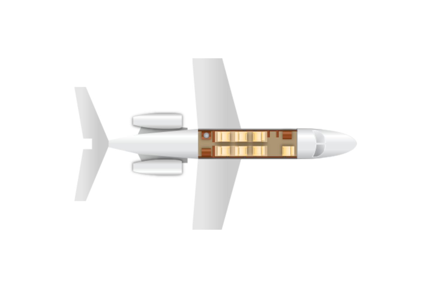 Private Light Jet Hawker 400XP Floor Plan