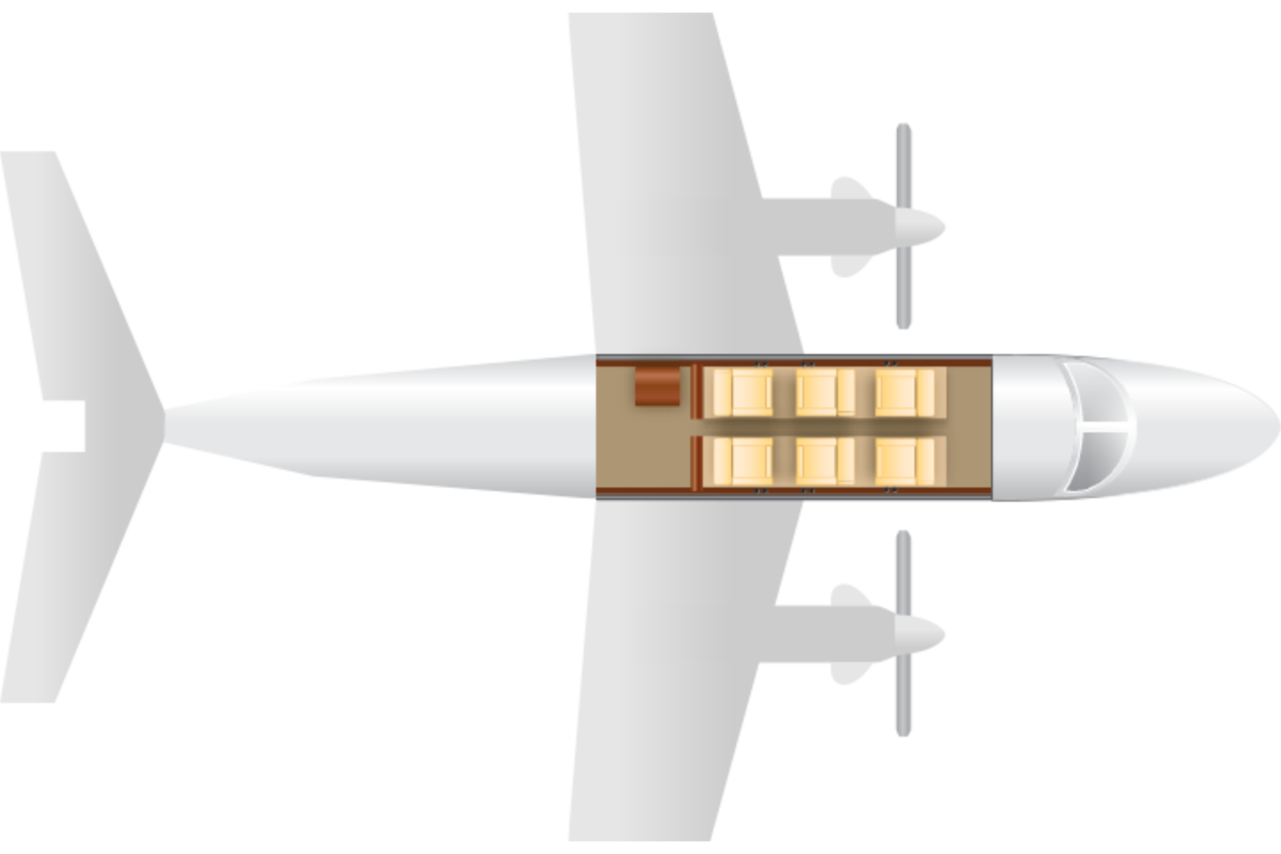 Private Turboprop King Air B200 Floor Plan