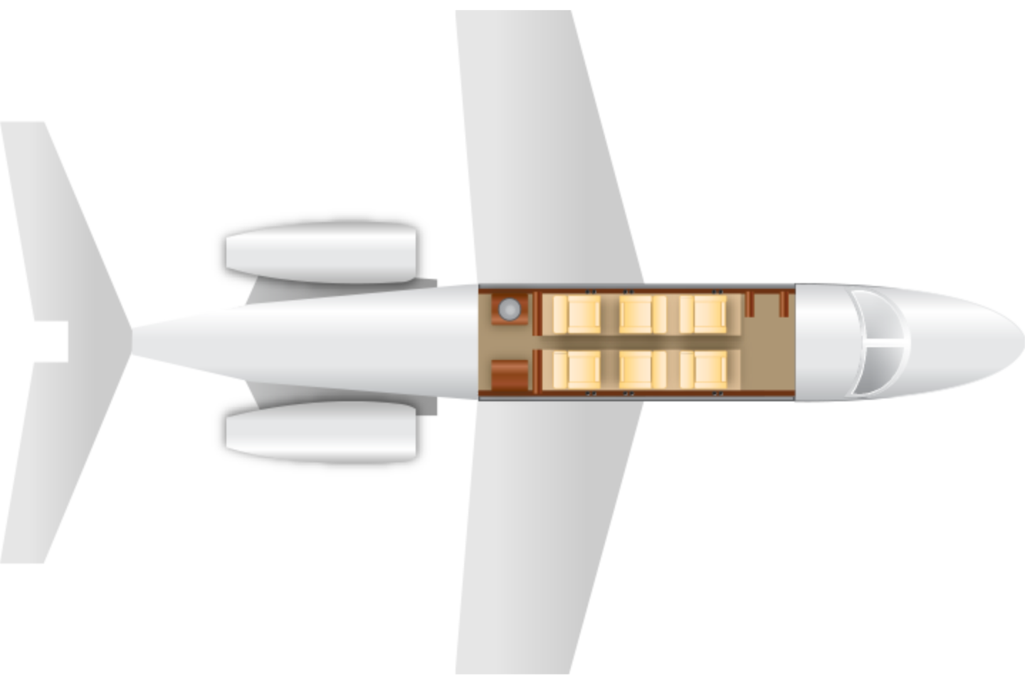 Private Light Jet Lear 40/XR Floor Plan